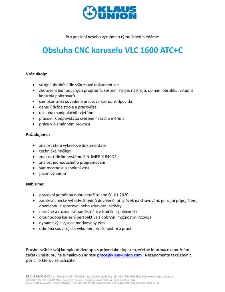 prace KUK19112 CNC karusel VLC1600