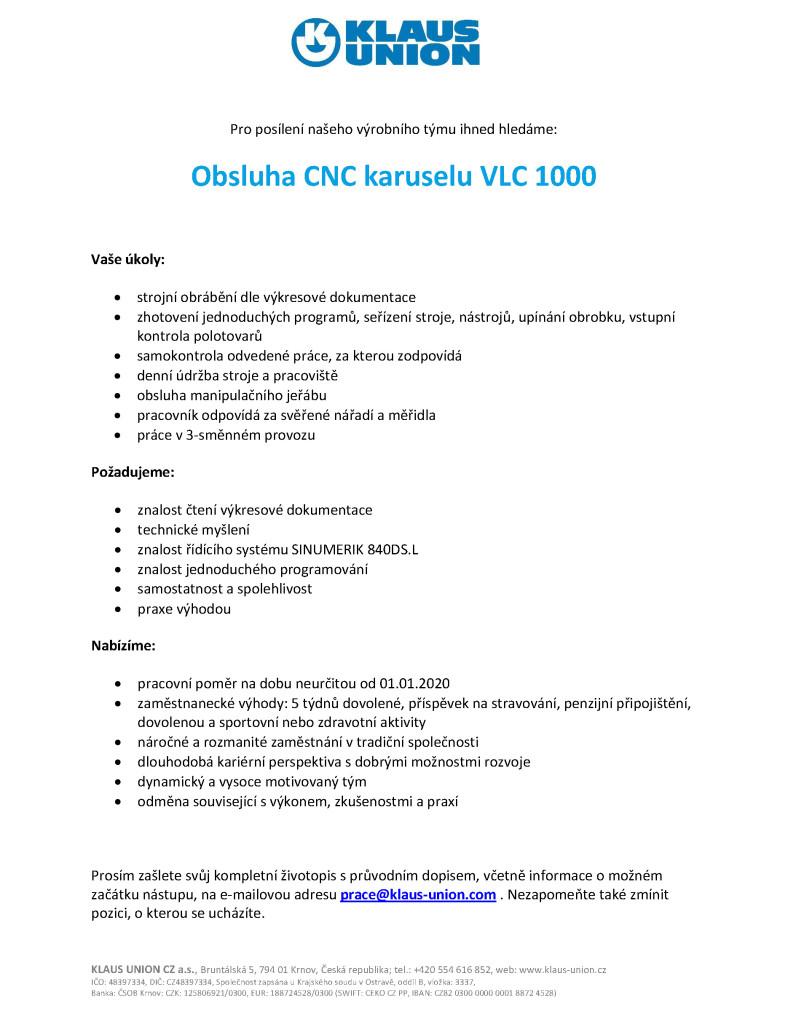 prace KUK19113 CNC karusel VLC1000